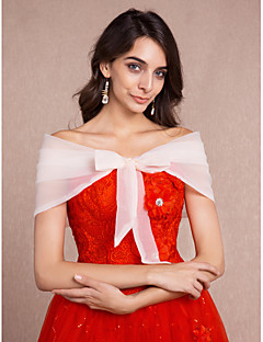 Women's Wrap Capelets Sleeveless Tulle More Colors Wedding / Party/Evening Off-the-shoulder 65cm Bow Lace-up