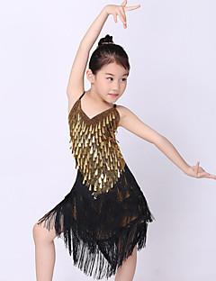 Taniec latynoamerykański Outfits Dla dzieci Wydajność Poliester Metal Cekiny Tassel (s) 1 sztuka Bez rękawów Naturalny Sukienki120:31.5