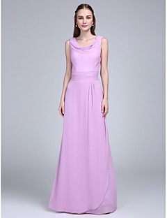Lanting Bride® Floor-length Chiffon Bridesmaid Dress Sheath / Column Cowl with Sash / Ribbon / Ruching