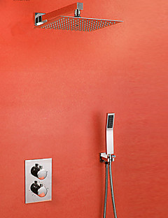 現代風 シャワーシステム サーモスタットタイプ with  セラミックバルブ 二つのハンドルつの穴 for  クロム , シャワー水栓