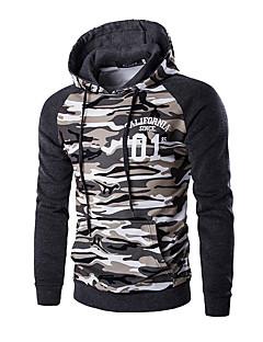 Men's Camouflage Casual / Sport Hoodie & Sweatshirt,Cotton Long Sleeve Brown / Gray
