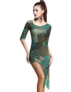 ריקוד לטיני שמלות בגדי ריקוד נשים אימון זהורית / טול דפוס / הדפסה 3 חלקים חצי שרוול טבעי שמלות / חגורה / שורטים M:113cm/L:114cm