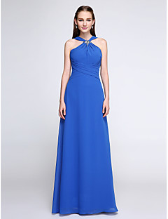2017 Lanting Bride® Floor-length Chiffon Color Block Bridesmaid Dress - V-neck with Crystal Detailing/ Ruching