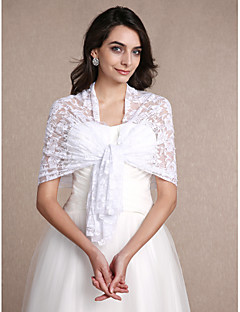 Women's Wrap Shawls Sleeveless Lace White Wedding Party/Evening Bateau 30cm Lace Open Front