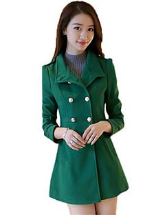 Dámské Jednobarevné Běžné/Denní Jednoduché Kabát-Polyester Zima Košilový límec Dlouhý rukáv Černá / Zelená Střední