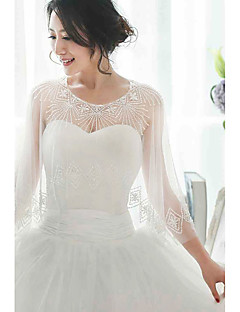 Women's Wrap Capelets Sleeveless Tulle Ivory Wedding / Party/Evening Scoop Beading / Embroidery / Sequin Pullover