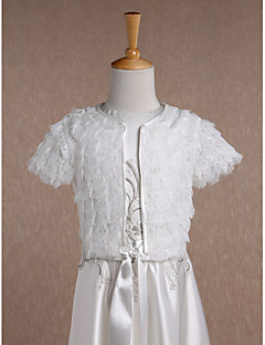 Kids' Wraps Coats/Jackets Short Sleeve Lace Ivory Wedding / Party/Evening / Casual Scoop 34cm Ruffles Open Front
