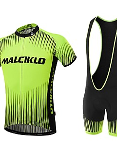 Sports Cycling Jersey with Bib Shorts Men's Short Sleeve BikeBreathable / Quick Dry / Front Zipper / Wearable / High Breathability