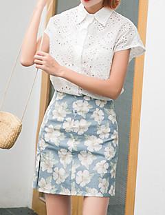 Jupes Aux femmes Au dessus du genou simple Polyester Micro-élastique
