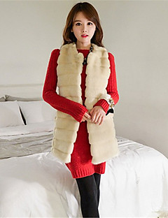 Women's Plus Size / Party/Cocktail Sexy / Simple Fur Coat,Solid Round Neck Sleeveless Fall / Winter Beige /