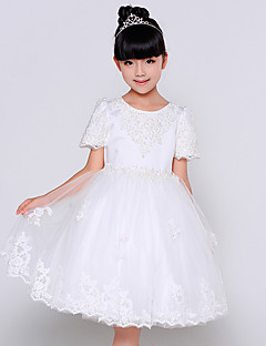 Ball Gown Tea-length Flower Girl Dress - Cotton / Organza / Satin Jewel with Beading / Embroidery / Pearl Detailing