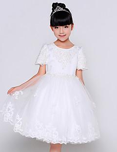 נשף באורך הקרסול שמלה לנערת הפרחים  - כותנה / אורגנזה / סאטן שרוול קצר עם תכשיטים עם חרוזים / ריקמה / פרטים מפנינה