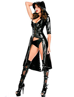 Women's  Faux Latex Catsuit Dance Fancy Dress With Hat Outfit