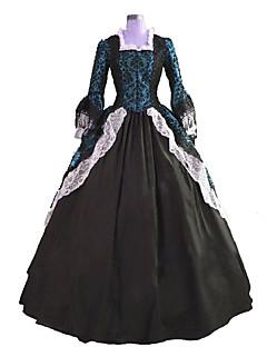 /שמלותחתיכה אחת לוליטה גותי Steampunk® / ויקטוריאני Cosplay שמלות לוליטה Black / ירוק דפוס שרוול ארוך ארוך שמלה ל נשיםסאטן / תחרה /