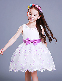 A-line Knee-length Flower Girl Dress - Organza / Satin Sleeveless Jewel with Bow(s) / Embroidery / Pearl Detailing