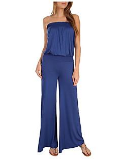 婦人向け ストリートファッション モーダル / ポリエステル / スパンデックス ジャンプスーツ,伸縮性あり 薄手 ノースリーブ