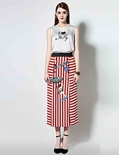 Boutique S  Women's Casual/Daily Sophisticated Spring / Summer Set,Print Round Neck Sleeveless Red Polyester Thin