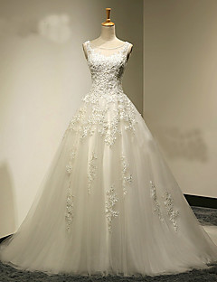 A-line Wedding Dress Sweep / Brush Train Scoop Tulle with Appliques / Beading / Crystal / Pearl