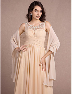 Women's Wrap Shawls Sleeveless Chiffon Champagne Wedding / Party/Evening Shawl Collar Side-Draped Open Front