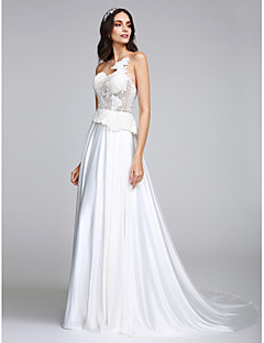 LAN TING BRIDE A-line Wedding Dress See-Through Court Train Strapless Charmeuse with Appliques