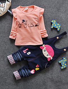 Girl's Cotton Spring/Autumn Casual Long Sleeve Ruffle T Shirt And Overalls Denim Rompers Two-piece Set
