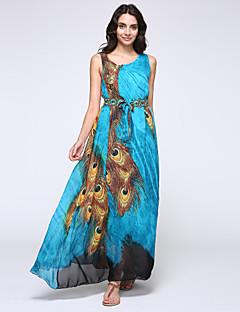 Women's Beach Plus Size / Chiffon / Skater Dress,Animal Print Round Neck Maxi Sleeveless Green Spandex Spring