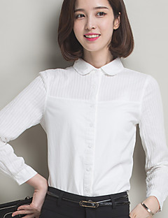 Women's Plus Size / Casual/Daily Simple Solid / Patchwork Doll Collar  Long Sleeve White Cotton Shirt
