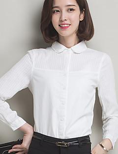 Mulheres Camisa Casual / Tamanhos Grandes Simples Primavera / Outono,Sólido Branco Algodão Gola Peter Pan Manga Longa Fina