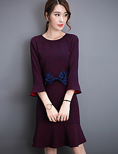 Women's Going out Cute Sheath Dress,Houndstooth Round Neck Knee-length ¾ Sleeve Red Cotton / Polyester Fall