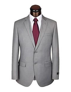 2017 חליפות רזה חריץ בכושר רכיסת שני כפתורי צמר מוצקות 2 חתיכות אפורות ישר התנופף