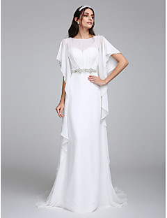 LAN TING BRIDE Sheath / Column Wedding Dress Beautiful Back Chapel Train Bateau Chiffon with Beading