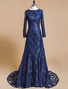 Formal Evening Dress Trumpet / Mermaid Jewel Court Train Lace with Lace