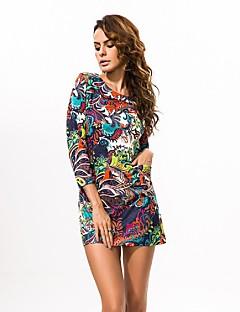 In Farbe Damen Rundhalsausschnitt Lange Ärmel Mini Kleid-6520