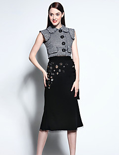 Mary Yan & Yu  Women's Going out Sophisticated Summer Set,Houndstooth Shirt Collar Sleeveless Black Cotton