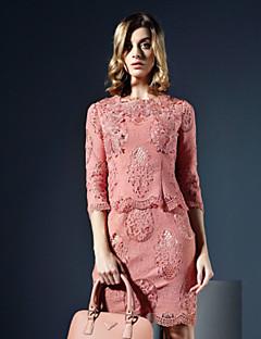 Damen Etuikleid Kleid-Lässig/Alltäglich Sexy Solide Rundhalsausschnitt Übers Knie ¾-Arm Rosa / Weiß Polyester Herbst Hohe Hüfthöhe