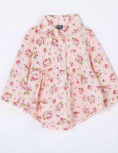 bebê Blusa-Casual Floral-Algodão-Outono-Rosa / Amarelo