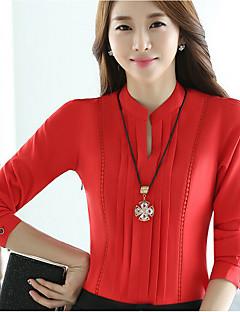 Camicia Da donna Casual / Ufficio Semplice Autunno,Tinta unita Rotonda Poliestere Rosso / Bianco Manica lunga Medio spessore