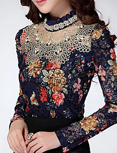 Women's Casual/Daily Simple Fall Blouse,Floral Stand Long Sleeve Blue / Beige Polyester Thin