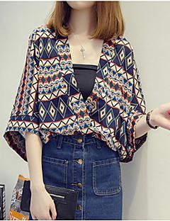 3/4 ærmelængde V-hals Tynd Kvinders Blå / Orange Trykt mønster Sommer Vintage I-byen-tøj / Casual/hverdag Bluse,Polyester