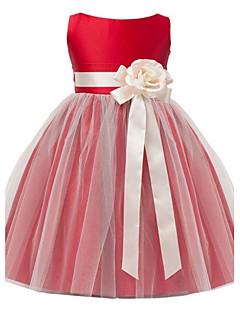 A-Line Tea Length Flower Girl Dress - Satin Tulle Sleeveless Jewel Neck with Flower