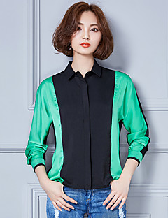 Vrouwen Street chic Herfst / Winter Overhemd,Casual/Dagelijks / Werk Kleurenblok Overhemdkraag Lange mouw Rood / Groen Katoen Dun