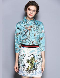 3/4 ærmelængde Krave Medium Kvinders Grøn Trykt mønster Alle årstider Vintage I-byen-tøj Skjorte,Polyester