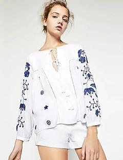 Vrouwen Eenvoudig Lente Overhemd,Casual/Dagelijks Geborduurd Ronde hals Lange mouw Wit Katoen / Polyester Medium