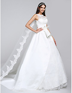 Lanting Bride A-line Wedding Dress Watteau Train Bateau Satin / Tulle with Appliques / Lace