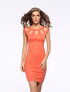 Women's Work / Plus Size Sexy Bodycon Dress,Solid Round Neck Above Knee Sleeveless Orange Polyester Summer
