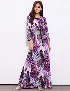 Women's Beach Sophisticated Sheath Dress,Leopard V Neck Maxi ¾ Sleeve Purple Others Fall