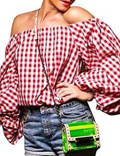 De las mujeres Simple / Bonito Noche / Vacaciones Otoño Camiseta,Escote Barco Houndstooth 3/4 Manga Poliéster Rojo Opaco / Medio