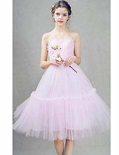 Cocktail festa vestido de baile - abrir de volta uma linha de querida joelho-comprimento tulle com beading plissados