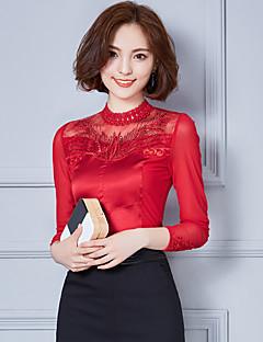 Mulheres Blusa Casual / Trabalho Simples Outono / Inverno,Sólido Vermelho / Branco / Preto Raiom Gola Alta Manga Longa Fina