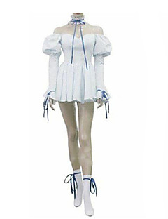 Inspired by Chobits Chii Anime Cosplay Costumes Cosplay Suits / Dresses Solid White Long Sleeve Dress / Tie